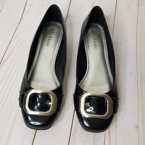 Kelly & Katie Black Patent Buckle Flats 7.5 wide